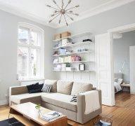 横条布艺沙发墙装饰画风水